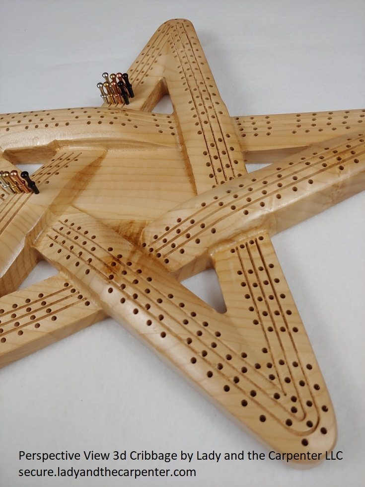 3d Star Cribbage Board